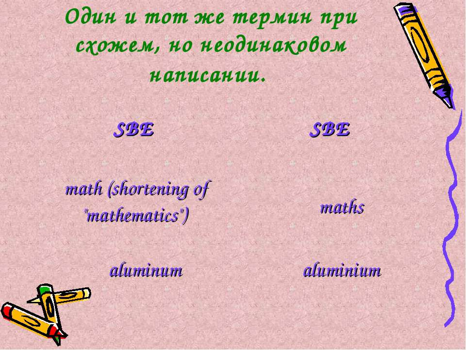 Один и тот же термин при схожем, но неодинаковом написании. SBE SBE math (sho...