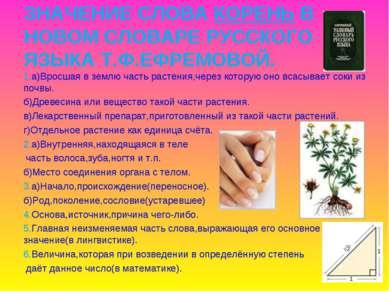 ЗНАЧЕНИЕ СЛОВА КОРЕНЬ В НОВОМ СЛОВАРЕ РУССКОГО ЯЗЫКА Т.Ф.ЕФРЕМОВОЙ. 1.а)Вросш...