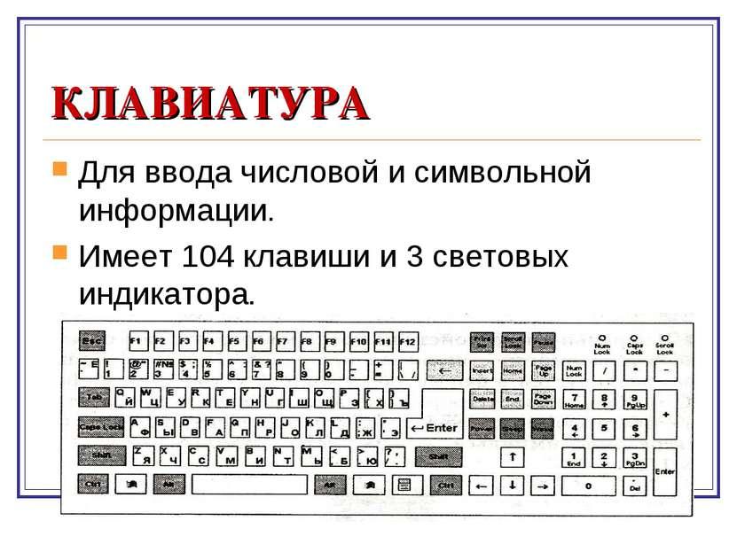 КЛАВИАТУРА Для ввода числовой и символьной информации. Имеет 104 клавиши и 3 ...
