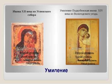 Умиление Икона XII века из Успенского собора Умиление Подкубенская икона XIV ...