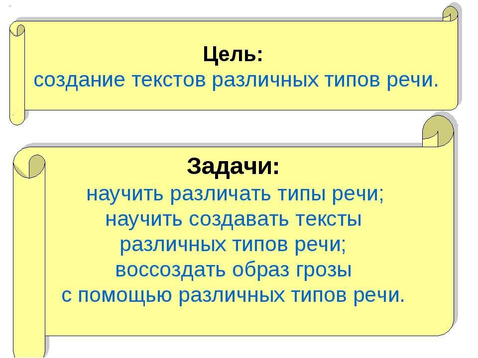 Цель: создание текстов различных типов речи. Задачи: научить различать типы р...