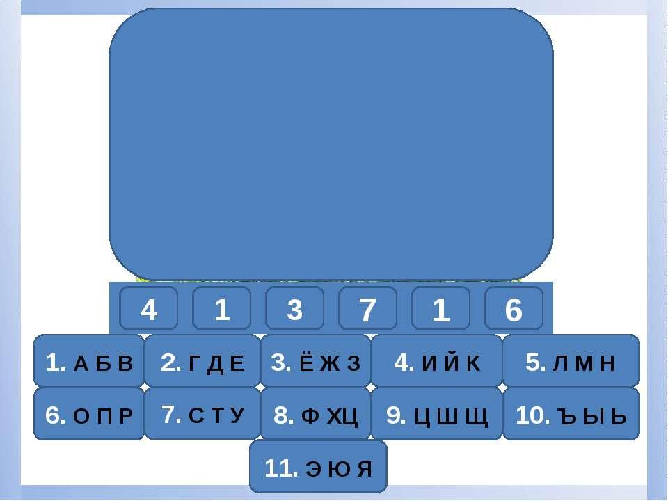 4 1 3 7 1 6 1. А Б В 6. О П Р К А З У А Р