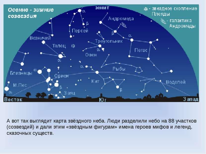 А вот так выглядит карта звёздного неба. Люди разделили небо на 88 участков (...
