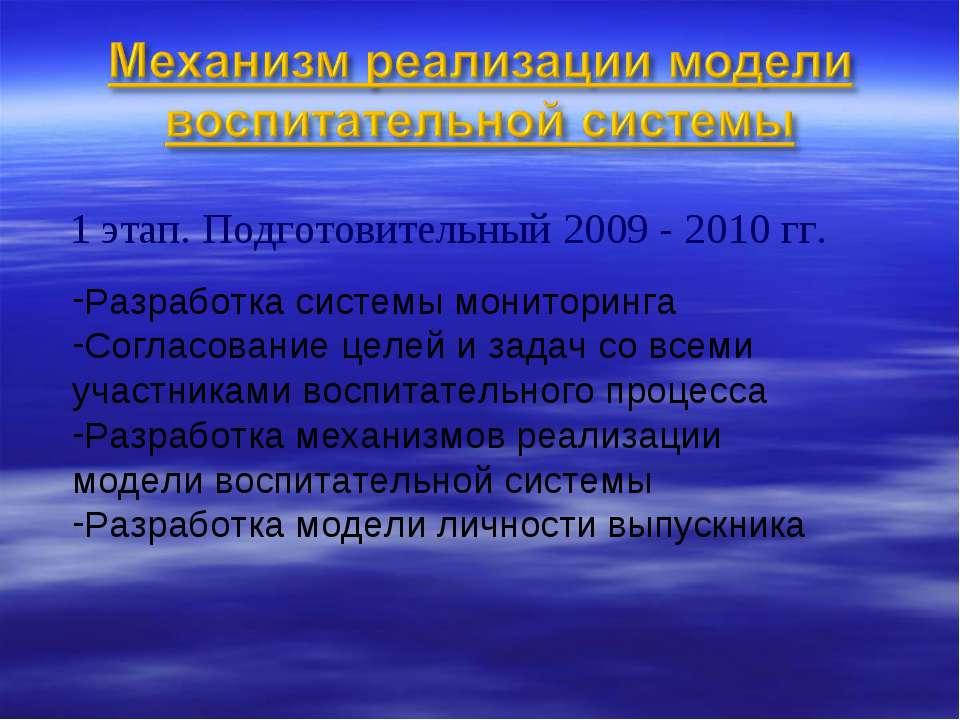 1 этап. Подготовительный 2009 - 2010 гг. Разработка системы мониторинга Согла...