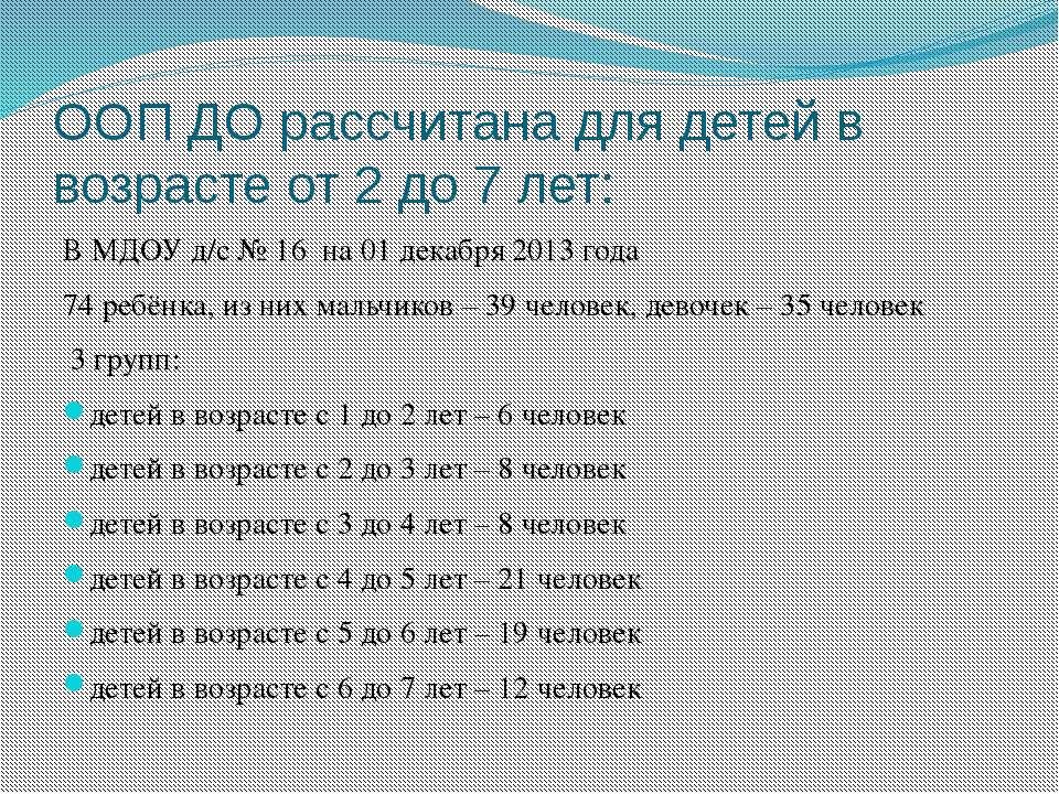 ООП ДО рассчитана для детей в возрасте от 2 до 7 лет: В МДОУ д/с № 16 на 01 д...