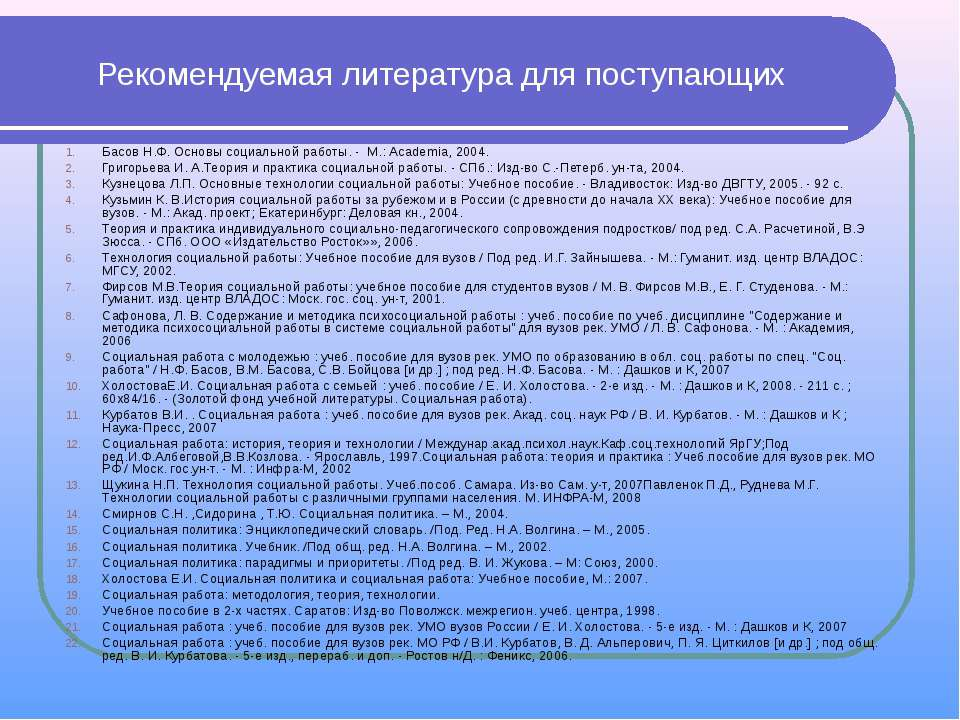 Рекомендуемая литература для поступающих Басов Н.Ф. Основы социальной работы....