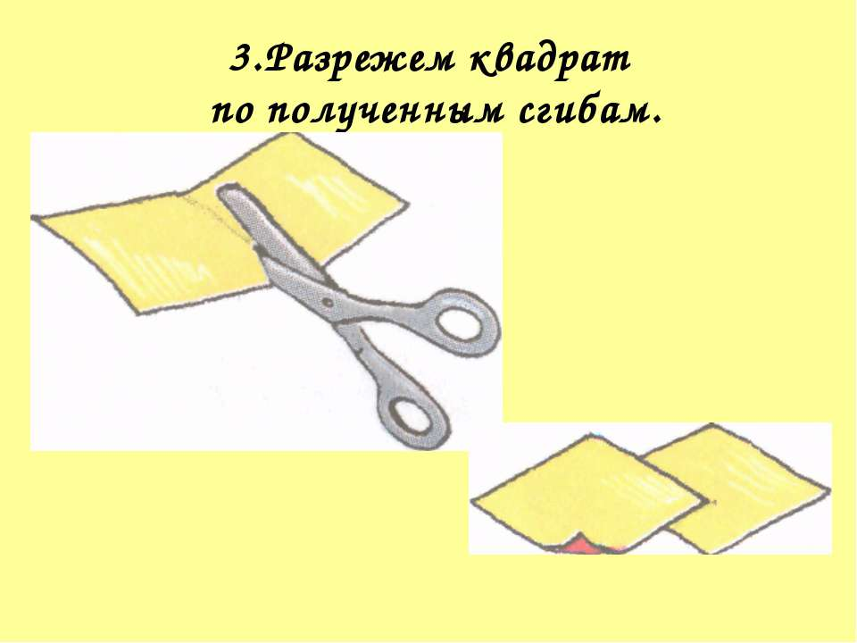 3.Разрежем квадрат по полученным сгибам.