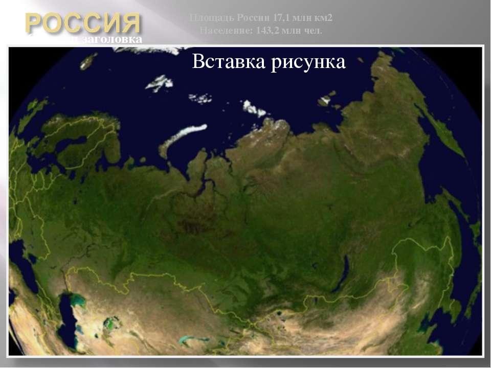 Площадь России 17,1 млн км2 Население: 143,2 млн чел.