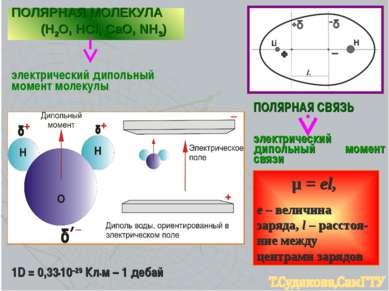 ПОЛЯРНАЯ СВЯЗЬ электрический дипольный момент связи μ = еl, е – величина заря...