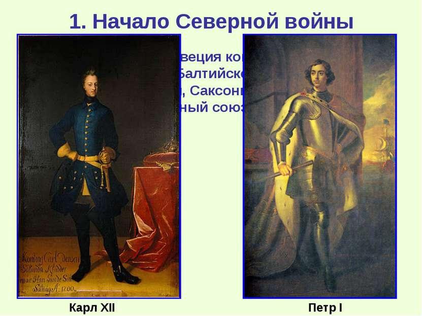 1. Начало Северной войны К началу 18 века Швеция контролировала все восточное...