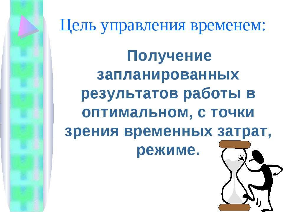 Цель управления временем: Получение запланированных результатов работы в опти...