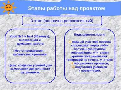 Этапы работы над проектом 3 этап (оценочно-рефлексивный) Урок № 3 и № 4 (40 м...
