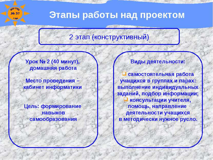 Этапы работы над проектом 2 этап (конструктивный) Урок № 2 (40 минут), домашн...