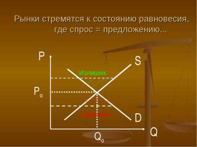 D S P Q Po Qo Рынки стремятся к состоянию равновесия, где спрос = предложению...