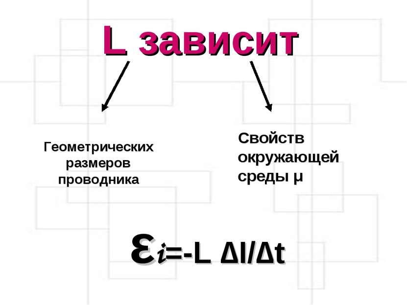 L зависит Геометрических размеров проводника Свойств окружающей среды μ εi=-L...