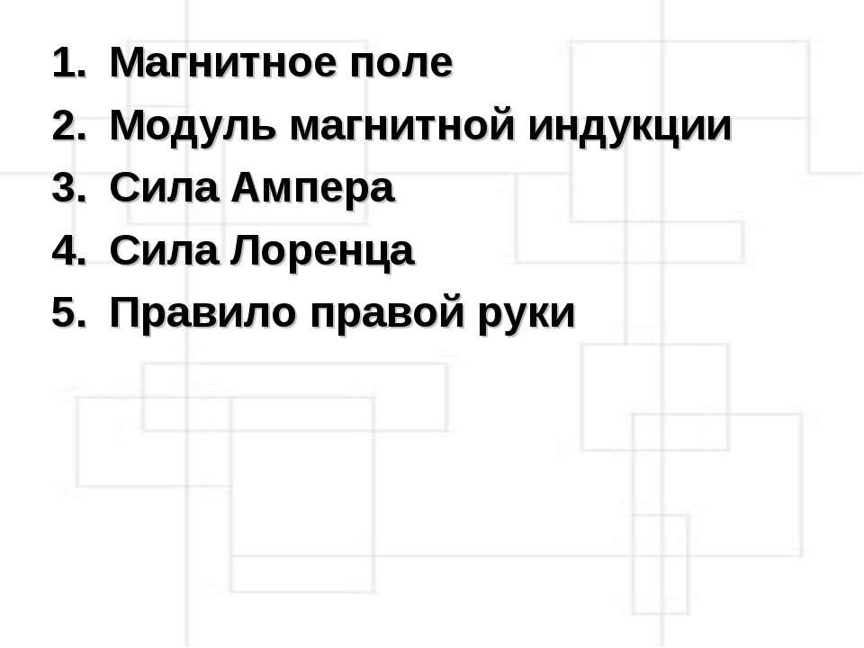 Магнитное поле Модуль магнитной индукции Сила Ампера Сила Лоренца Правило пра...