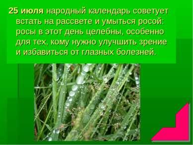25 июля народный календарь советует встать на рассвете и умыться росой: росы ...