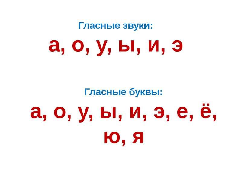 Гласные звуки: а, о, у, ы, и, э Гласные буквы: а, о, у, ы, и, э, е, ё, ю, я