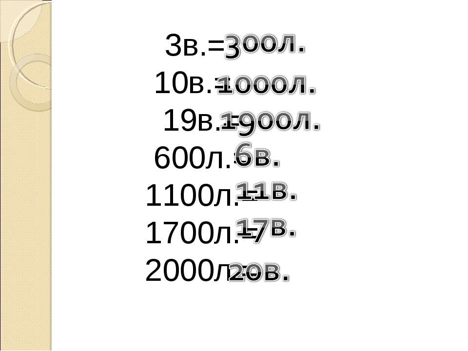 3в.= 10в.= 19в.= 600л.= 1100л.= 1700л.= 2000л.=