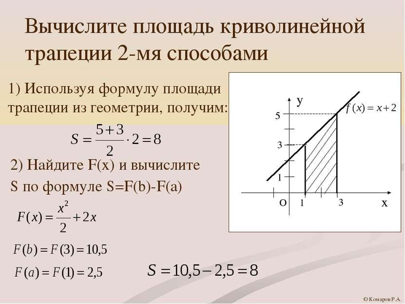 Вычислите площадь криволинейной трапеции 2-мя способами 1) Используя формулу ...