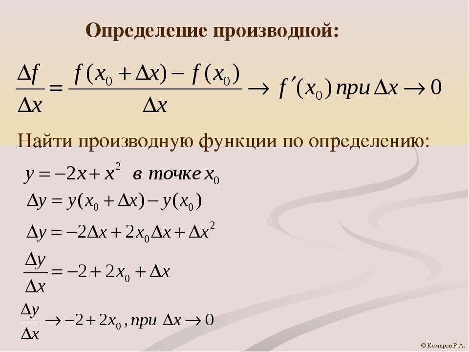 Определение производной: Найти производную функции по определению: © Комаров ...