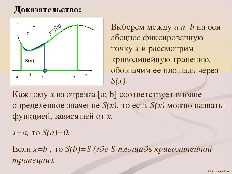 Доказательство: Выберем между a и b на оси абсцисс фиксированную точку х и ра...
