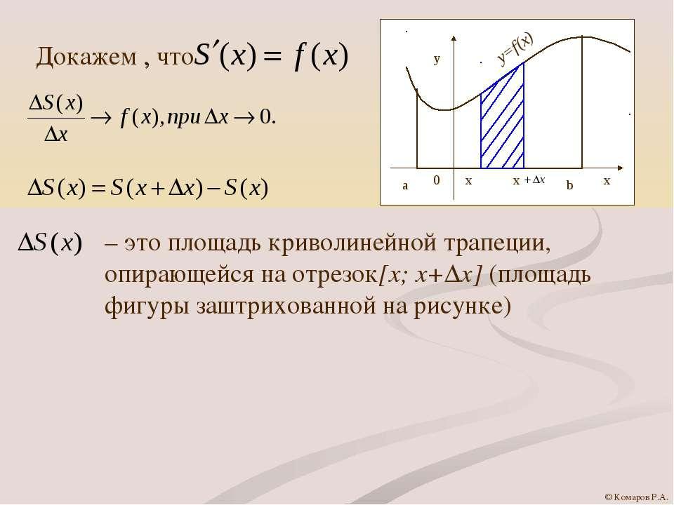 Докажем , что – это площадь криволинейной трапеции, опирающейся на отрезок[x;...