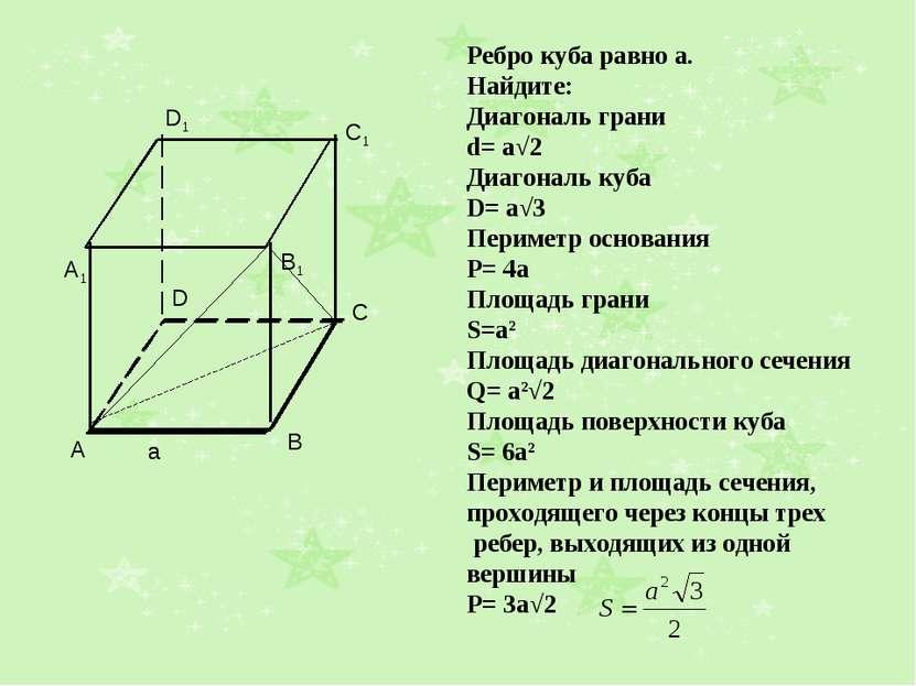 Ребро куба равно а. Найдите: Диагональ грани d= a√2 Диагональ куба D= a√3 Пер...