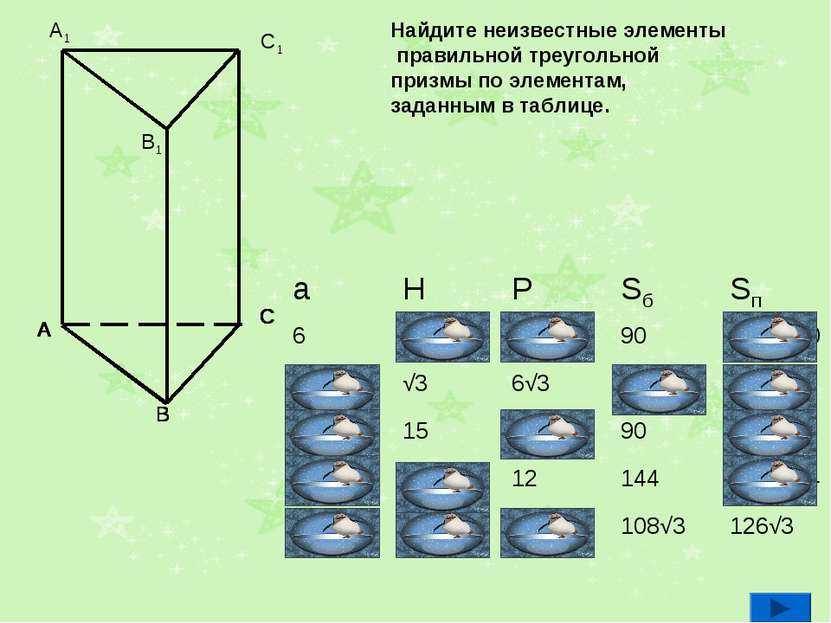 Найдите неизвестные элементы правильной треугольной призмы по элементам, зада...