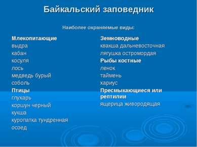 Байкальский заповедник Наиболее охраняемые виды:
