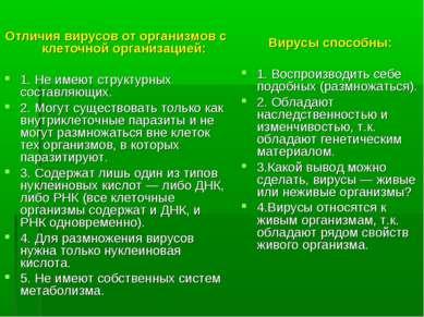 Отличия вирусов от организмов с клеточной организацией: 1. Не имеют структурн...