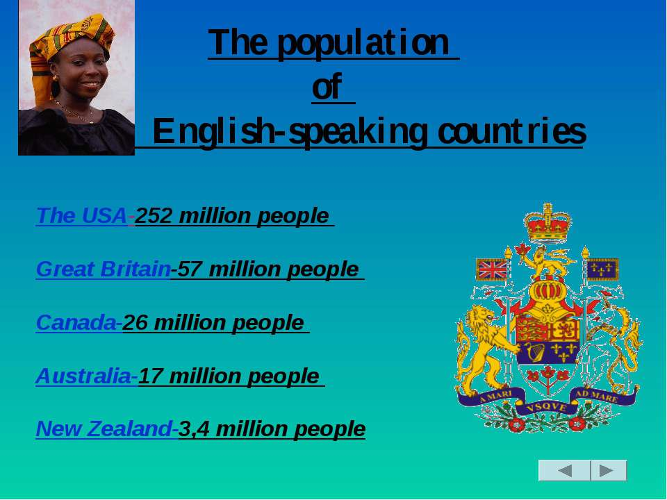 The population of English-speaking countries The USA-252 million people Great...