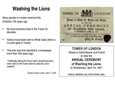 Washing the Lions Many people in London received this invitation 150 years ag...