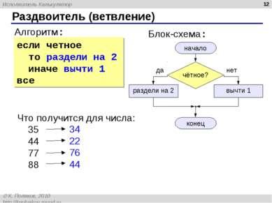 * Раздвоитель (ветвление) Алгоритм: начало конец раздели на 2 вычти 1 Блок-сх...