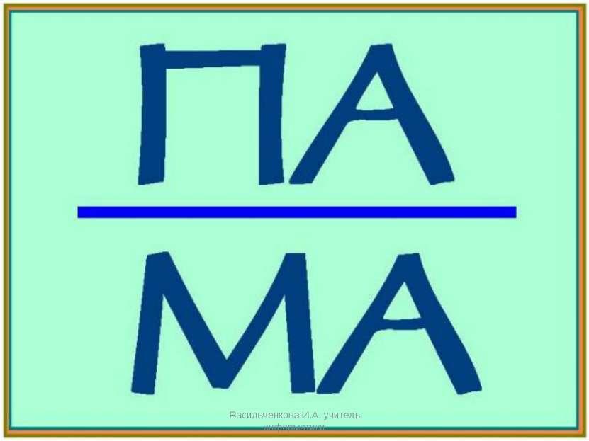 Васильченкова И.А. учитель информатики Васильченкова И.А. учитель информатики