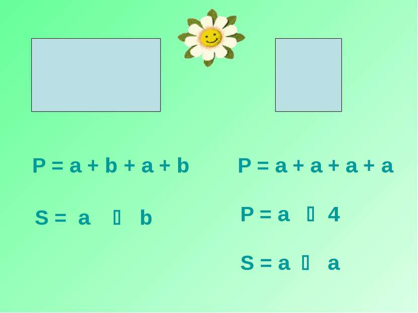 S = a b S = a a P = a + b + a + b P = a + a + a + a P = a 4