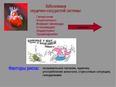 Гипертония Атеросклероз Инфаркт миокарда Стенокардия Эндартериит Тромбофлебит...
