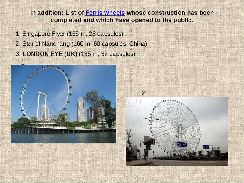 In addition: List of Ferris wheels whose construction has been completed and ...