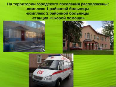 На территории городского поселения расположены: -комплекс 1 районной больницы...