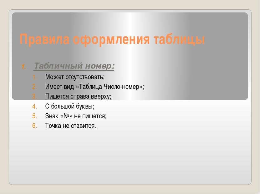 Правила оформления таблицы Табличный номер: Может отсутствовать; Имеет вид «Т...