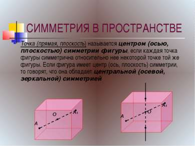 СИММЕТРИЯ В ПРОСТРАНСТВЕ Точка (прямая, плоскость) называется центром (осью, ...