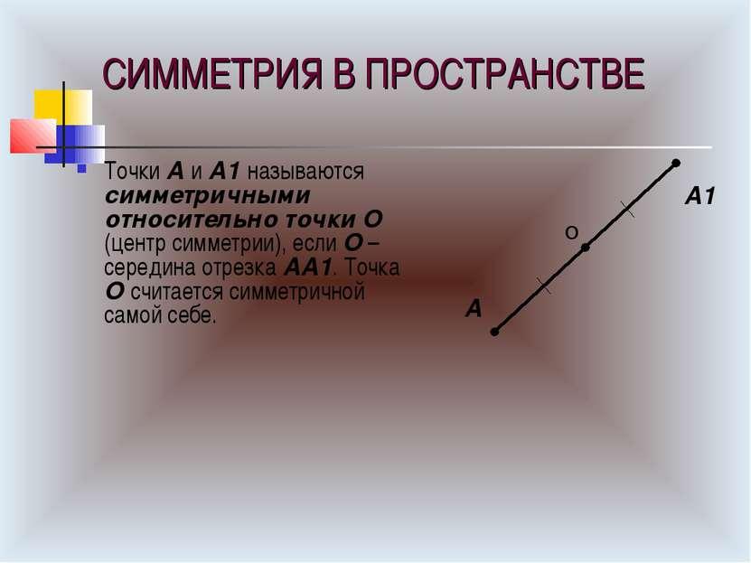 СИММЕТРИЯ В ПРОСТРАНСТВЕ Точки А и А1 называются симметричными относительно т...