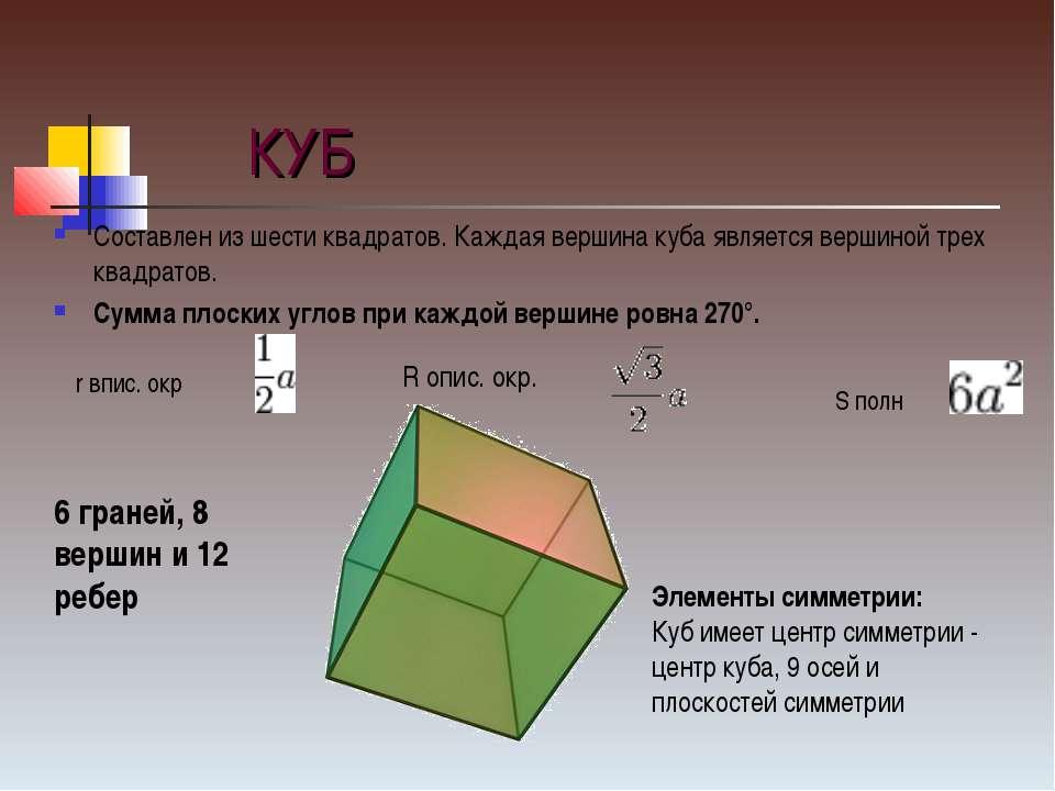 КУБ Составлен из шести квадратов. Каждая вершина куба является вершиной трех ...