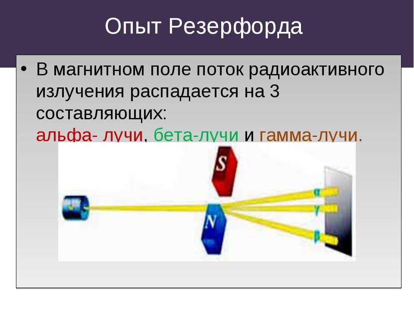 Опыт Резерфорда В магнитном поле поток радиоактивного излучения распадается н...