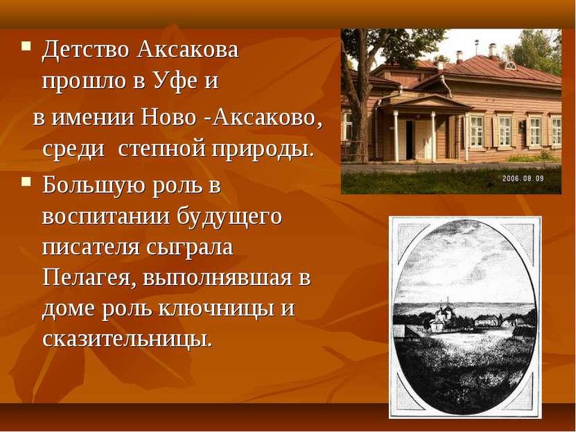 Детство Аксакова прошло в Уфе и в имении Ново -Аксаково, среди степной природ...