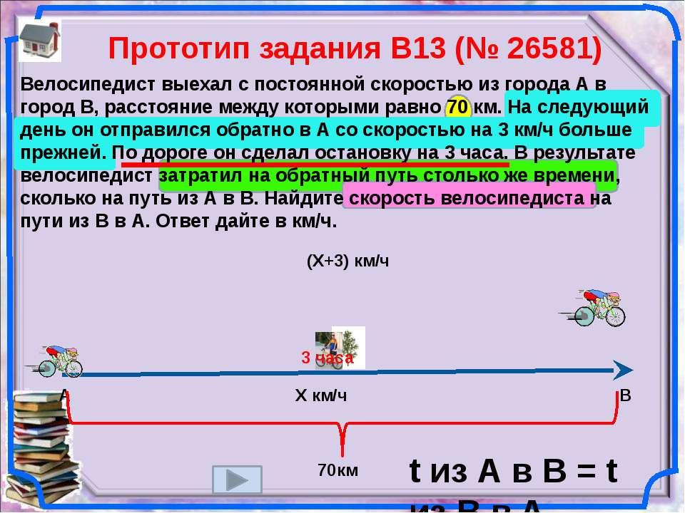 Прототип задания B13 (№ 26581) Велосипедист выехал с постоянной скоростью из ...