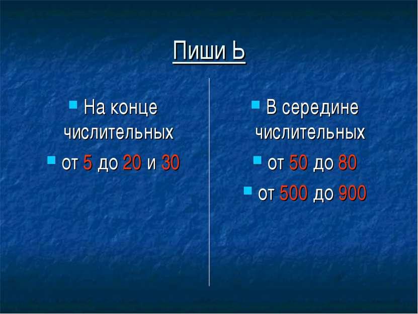 Пиши Ь На конце числительных от 5 до 20 и 30 В середине числительных от 50 до...
