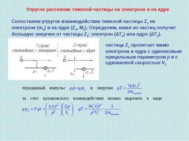 Упругое рассеяние тяжелой частицы на электроне и на ядре Сопоставим упругое в...