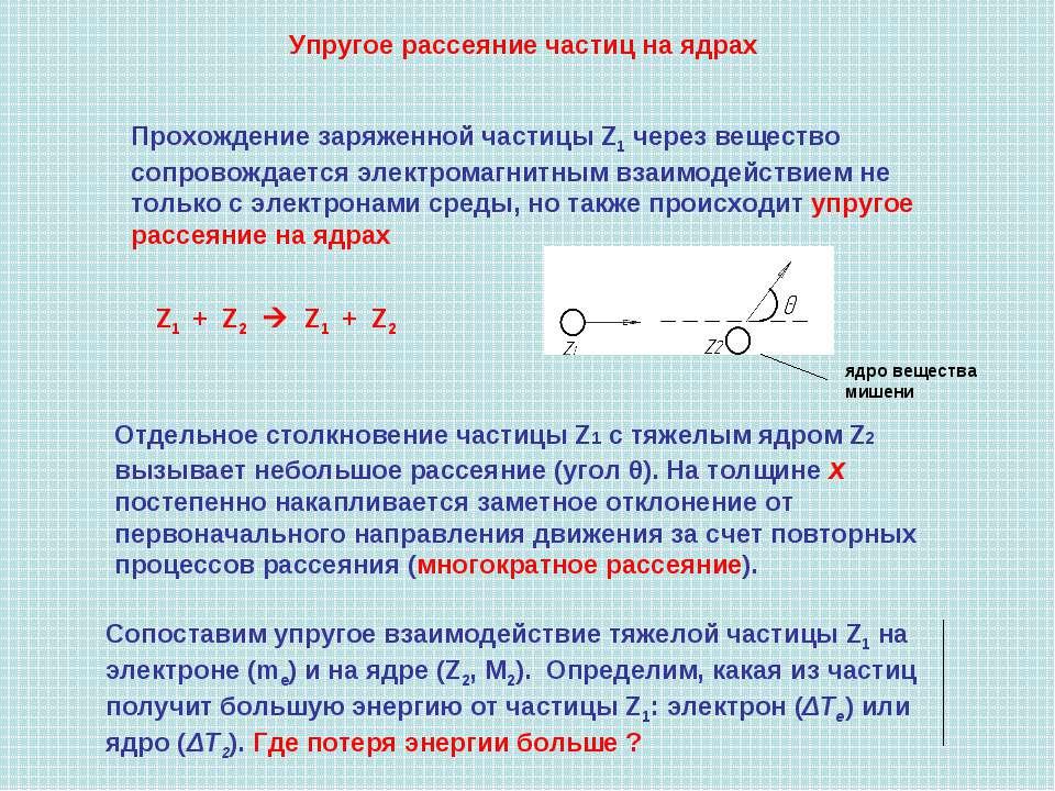 Упругое рассеяние частиц на ядрах Z1 + Z2 Z1 + Z2 Отдельное столкновение част...