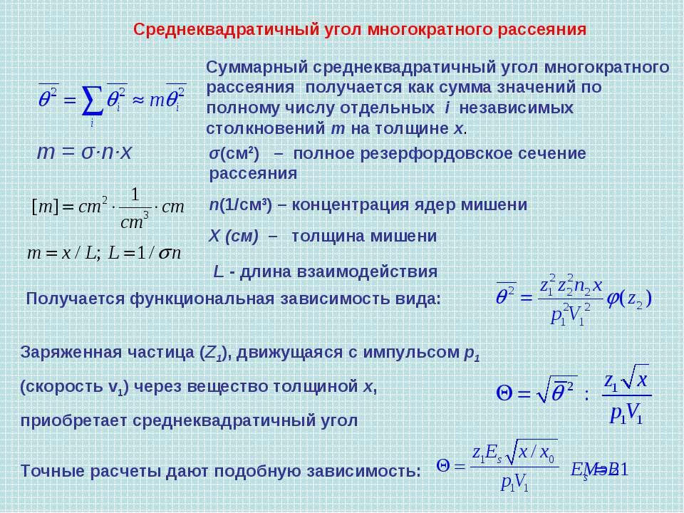 Среднеквадратичный угол многократного рассеяния Суммарный среднеквадратичный ...